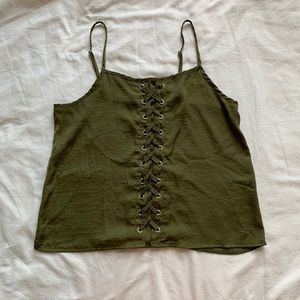Olive Green Lace-up Tank